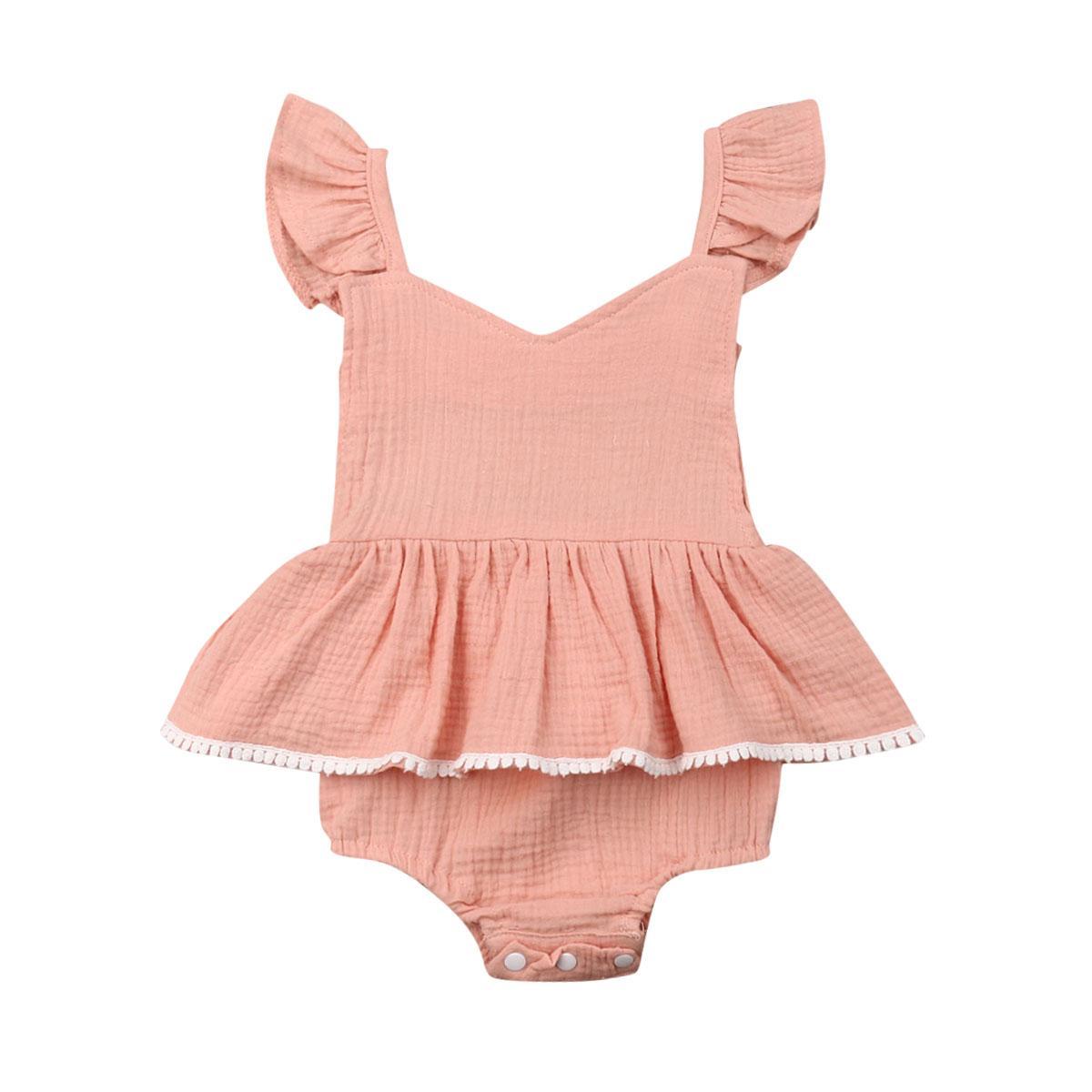 2020 Yaz Yenidoğan Bebek Bodysuits Giyim Katı Casual Yürüyor Bebek Kolsuz Sevimli Elbise Tulumlar Kıyafetler
