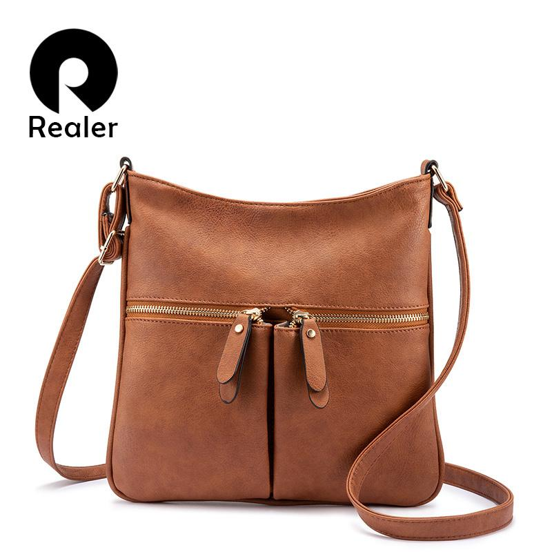 Realer Women Shoulder Messenger Bags Female Brand Crossbody Bag Small Purses And Handbags Designer Ladies Pu Leather Bag Y190124