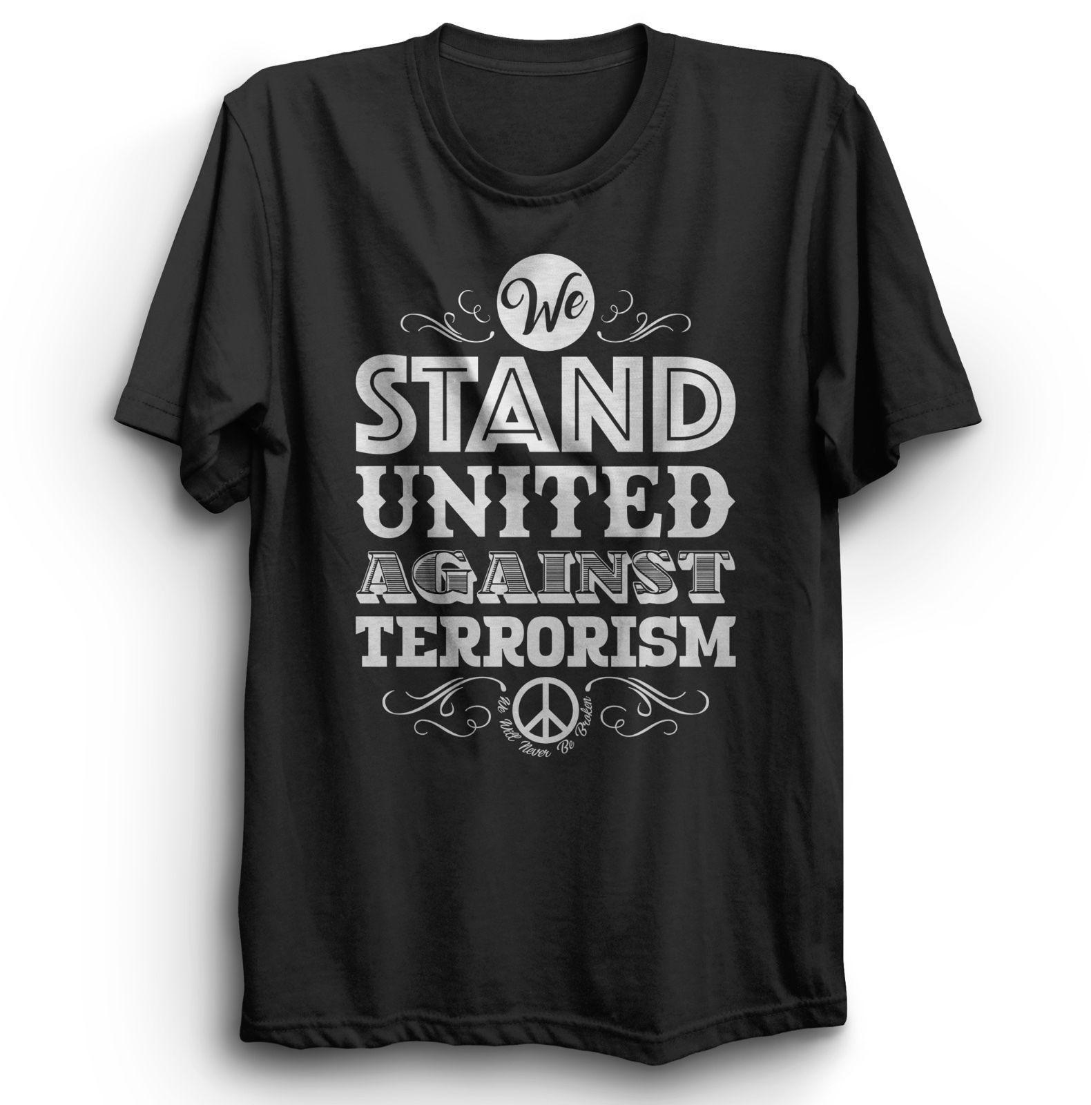 60a7579f8be61f NÓS ESTAMOS UNIDOS CONTRA TERRORISMO TERROR PROTEST T-SHIRT HOMENS SENHAS  CRIANÇAS TAMANHOS Top Tee Estilo Chinês