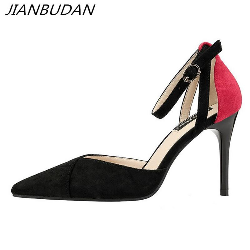 161de2d91b4ab Dress Jianbudan  Pointed Toe Sexy Women S Professional High Heels Ankle  Strap Shallow Fashion Summer Pumps Women S Banquet Shoes 34 39 Mens Dress  Shoes Prom ...