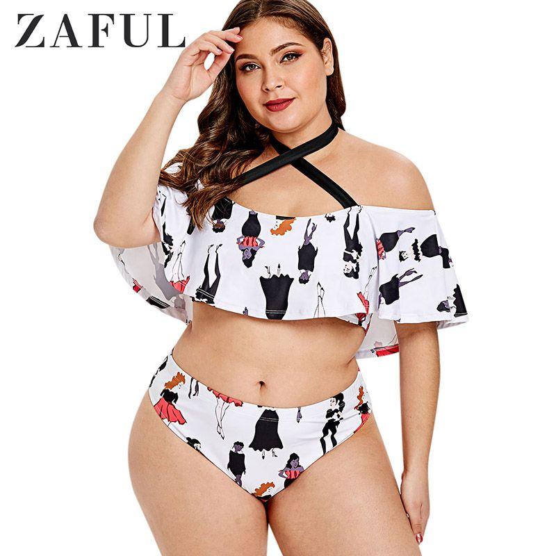 Big Women Girl 2019 Halter Zaful Suit Plus For Sexy Bathing High Waist Vintage 5xl Size Swimsuit Print Swimwear Large uPkZTOXi