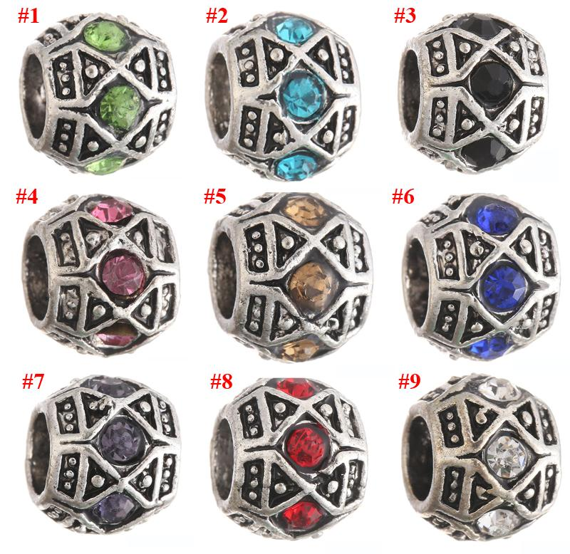 Antique Silver Loose Beads Alloy Crystal Charms Big Hole Charm For Bracelets DIY Jewelry For European Bracelets XZ-21