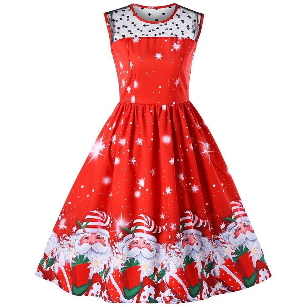 e4b4f1aa18a4 Plus Size Lace Panel Father Christmas Midi Party Dress - raveitsafe