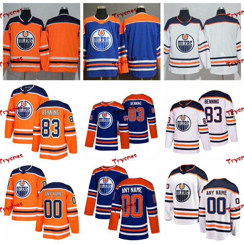 competitive price 7d912 278aa 2019 Customize Matt Benning Edmonton Oilers Stitched Jerseys Custom  Alternate Blue Shirts #83 Matt Benning Hockey Jerseys S-XXXL