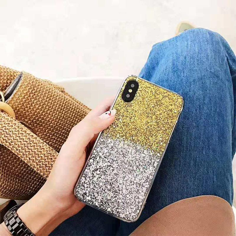 One Piece Designer Phone Case Two Tone The Milky Way Star Paillette case  For Iphone 8/8P Iphone X/XS/XSMax