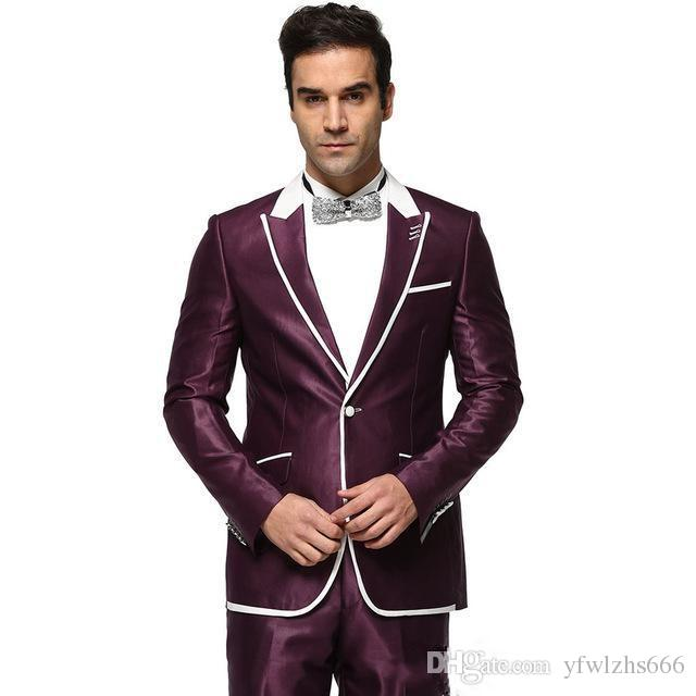 Wine Wedding Tuxedos Slim Fit Suits For Men Groomsmen Suit Two Pieces Cheap Prom Formal Suits (Jacket+Pants+Tie) 039