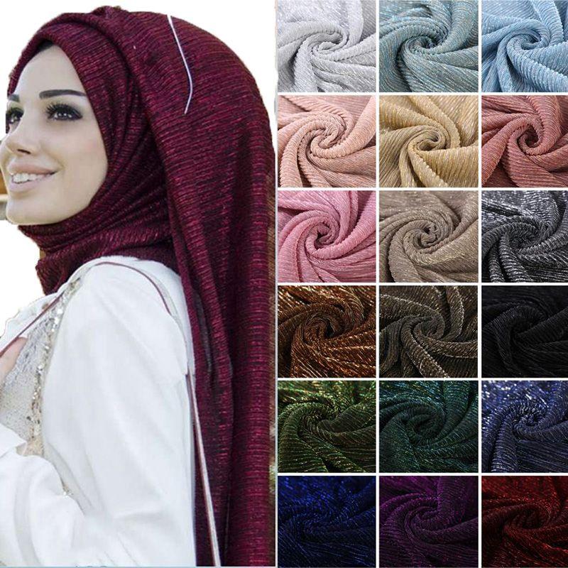 e59c49d1e85f NEW Shimmer Pleated Hijab Scarf Plain Shiny Crinkle Shawl Fashion Muslim  Hijabs Women Maxi Veils Shawls Islamic Scarf Bloods Bandana Rambo Bandana  From ...