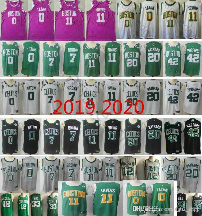 separation shoes a8457 6b700 2019 Boston Earned Edition Green Gold Jayson Tatum Kyrie Irving Gordon  Hayward Horford Jaylen Brown City Pink Basketball Jersey