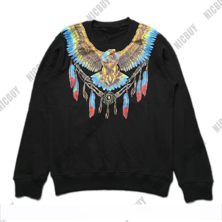 ab22bbda2780 Moda otoño diseñador Marca hombres sudaderas con capucha de lujo marcelo  burlon águila ala jersey estampado con capucha Algodón casual cuello  redondo ...