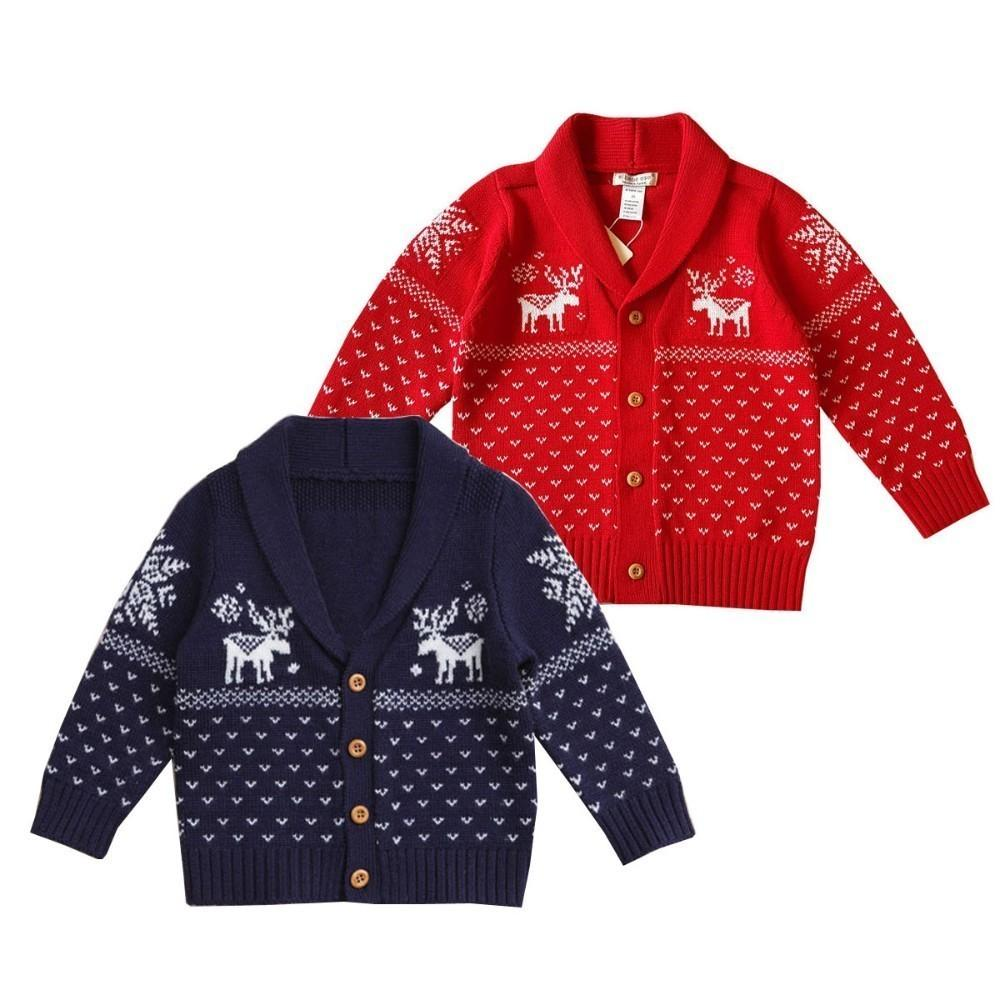 2 3 4 5 Y Baby Christmas Sweater Deer Print Lapel Knit Cardigan For Boys Cotton Autumn 2019 Toddler Girl Sweater Outwear Clothes