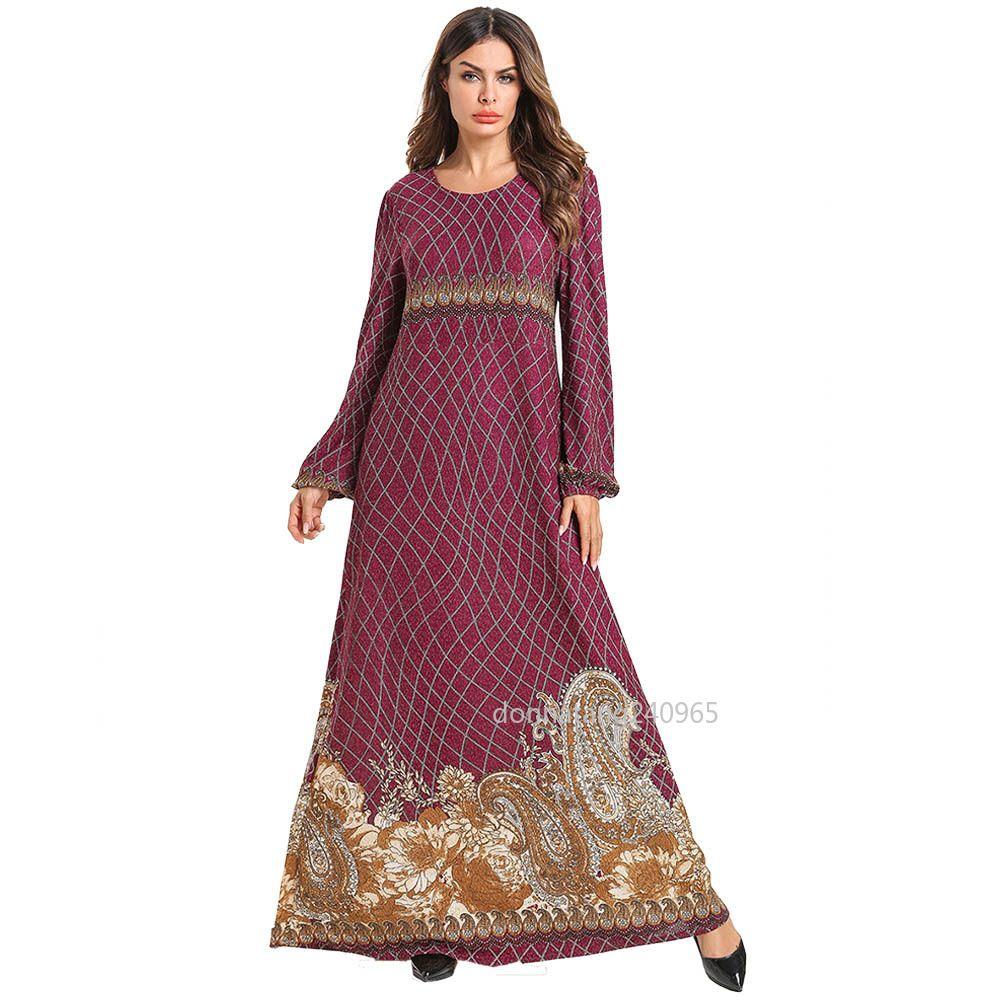 7af06fb1 7518 Plus Size Muslim Dress For Women Abaya Dubai Turkish Islamic Clothing  Bangladesh Pakistan Moroccan Kaftan Print Islam Robe 2019