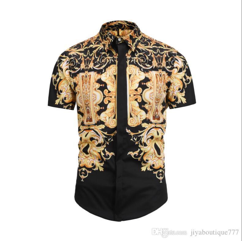 31237ab42 2019 Summer new style VERSACE Men's short sleeve 3D digital printing  Vintage style fashion cotton t-shirt