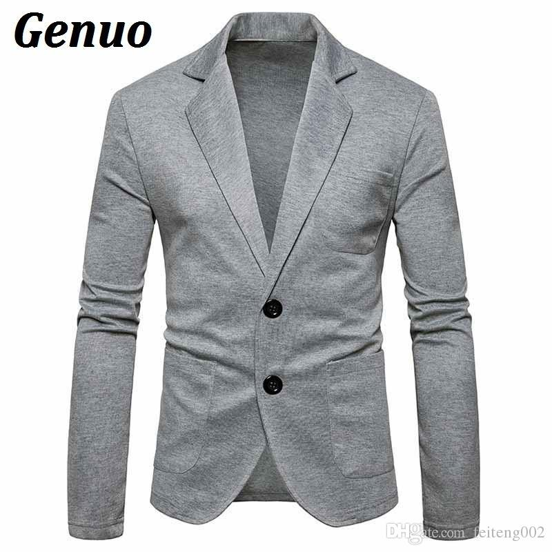 692d2c40dbbe 2019 Genuo Men Casual Blazer 2018 New Arrival Male High Quality Solid Color  Blazers Coat Men Two Buckles Silm Fit Suit Jacket Outwear #556048 From ...