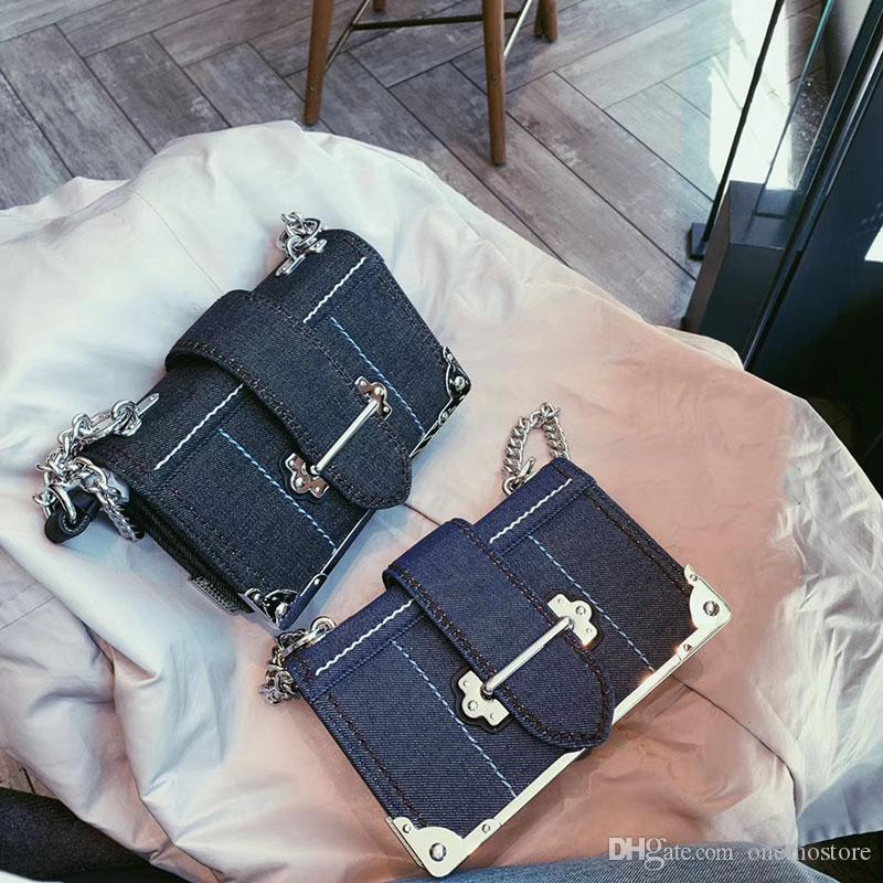 2019 new ladies designer tide style personality fashion denim color matching chain small square bag shoulder portable diagonal female bag