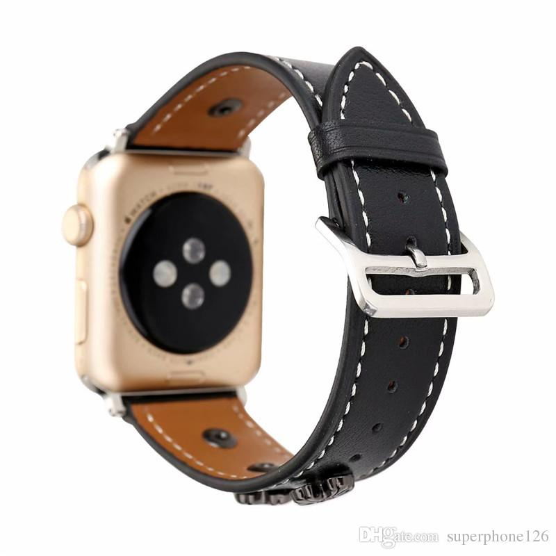 Sport Band for Apple Watch Wrist Strap Leather Fashion Replacement Watch Bands for Men Women Girls Accessories Loop 38mm 42mm With Adapter