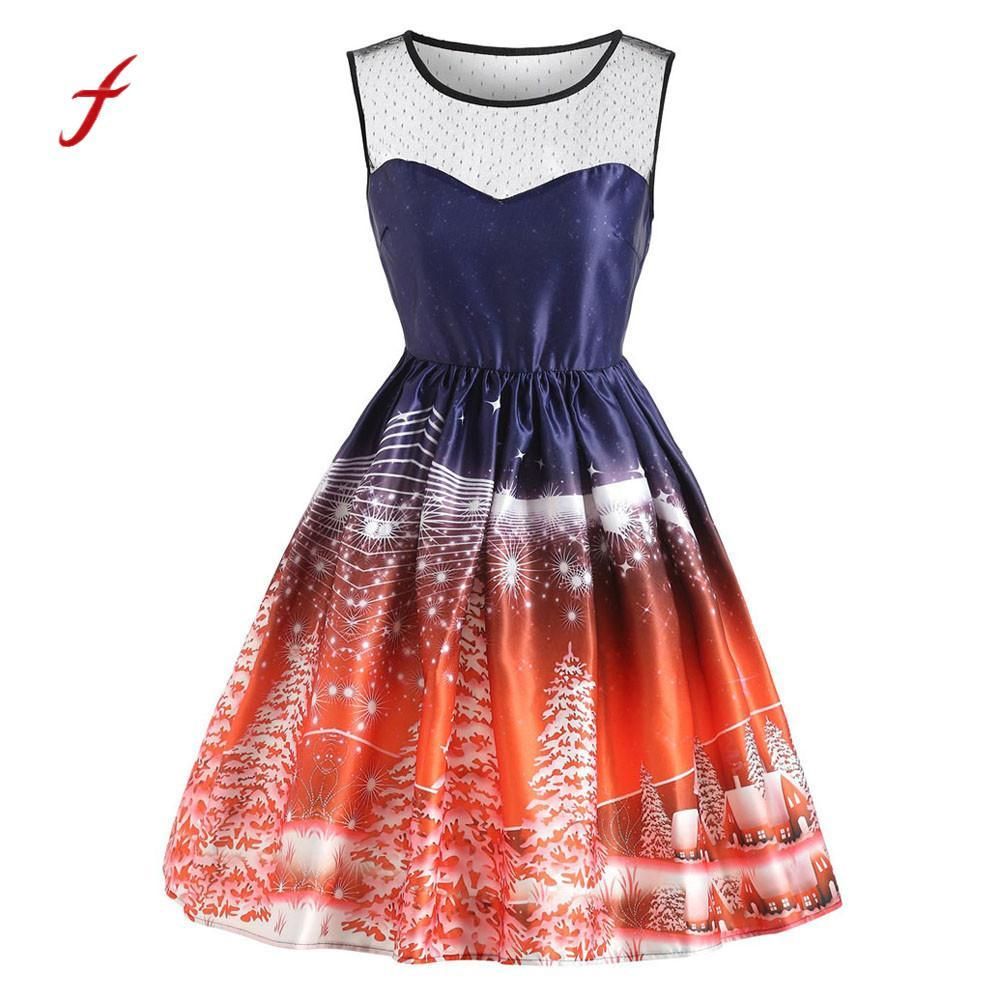 Christmas Swing Dress Uk.Feitong Women S Dresses Sleeveless Christmas Printed Vintage Solid Color Party Prom Swing Dress Decoration Dresses Woman 2019