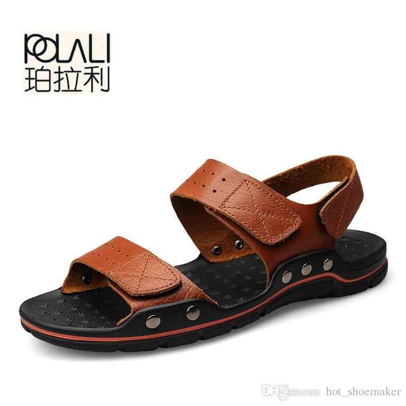 b1e3bad3e980c POLALI Men Sandals Summer Men'S Slippers Leather Shoes Beach Casual  Breathable Home Slippers Men Shoes Flip Flops Zapatos Size48 #8195 Jelly  Sandals ...