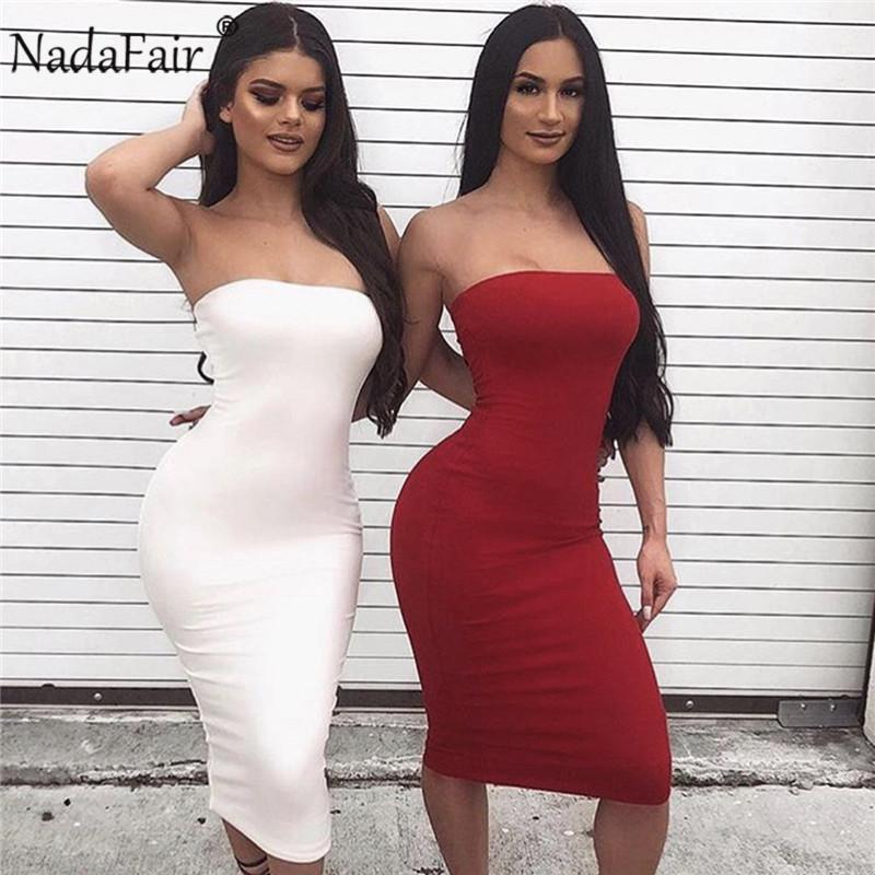 Nadafair Strapless Sexy Bodycon Club Party Women Summer Backless Midi Pencil Female Slim Solid Long Dress Red White Q190511