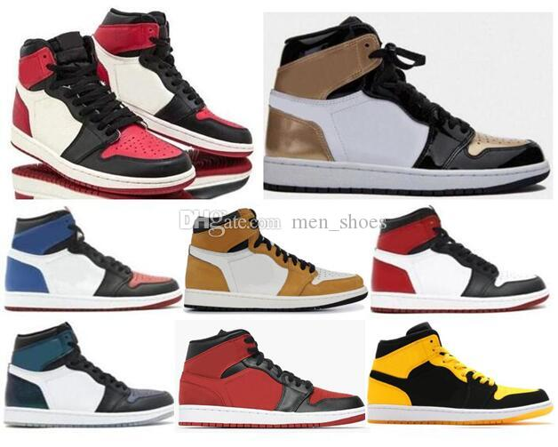 New 1 Black Bred Toe Mid Gym Red Basketball Shoes Men Women 1s Gold Toe Top  3 All Star Chameleon Sneakers With Box Sneakers Sale Basketball Shoes For  Girls ... 1be1db253e