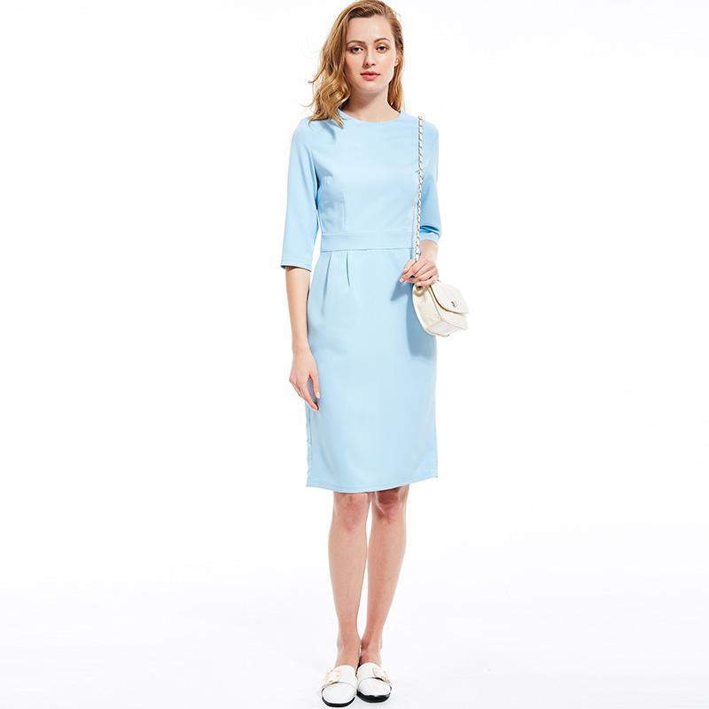 86d5cf5ae Compre Las Mujeres Midi Vestidos Vintage Azul Señora De La Oficina De Muy  Buen Gusto Elegante Cremallera Recta Sólido Verano 2019 Moda Femenina Retro  ...