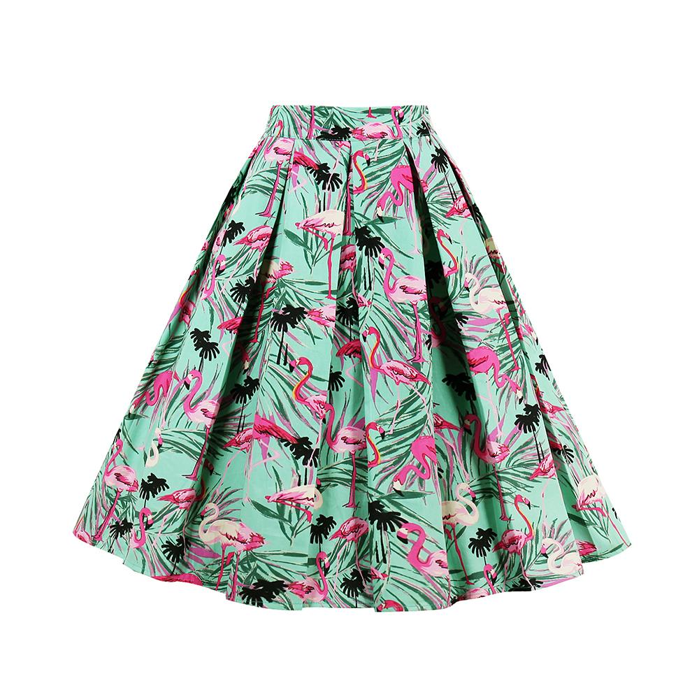 online store 14d05 64847 Gonne in cotone Retro Gonne anni 50 anni 60 Vintage Rockabilly Swing  Feminino Gonne a vita alta Flamingo Stampa Casual Tutu
