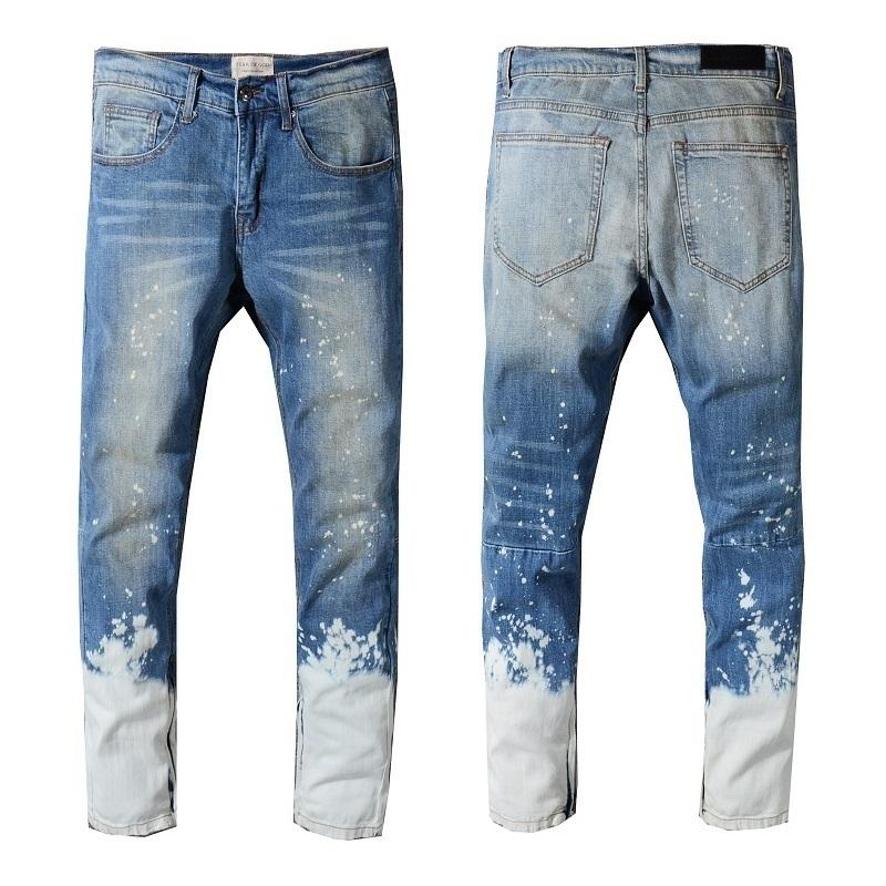 95f7292f30037 2019 2018 Best Quality Fear Of God 1 1 FOG Men Mixed Colors Pants Skinny  Slim Fit Justin Bieber Paint Jeans Plus Size 29 40 C19011001 From Shen8408