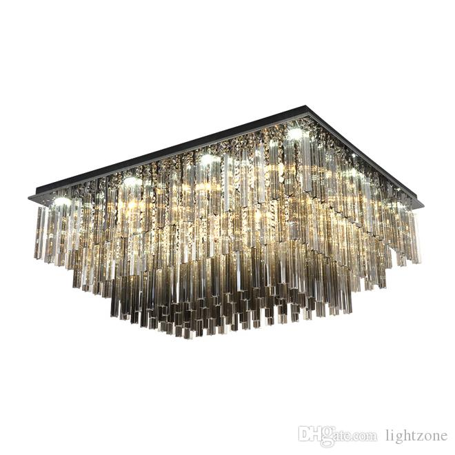 New design dimmable rectangle crystal ceiling chandelier lighting modern luxury smoky gray chandeliers light for living room bedroom decor