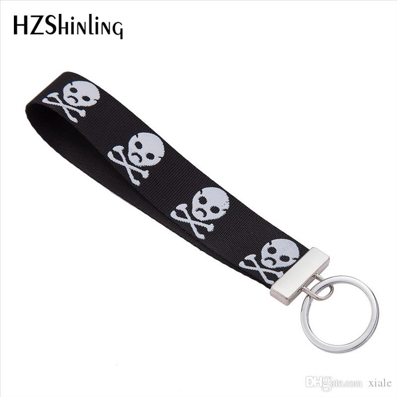 New Fashion Embriodery Keyholder Lovely Yellow Smile Wristlet Key Fob Bag Accessories Black Color Ribbon Keyring Gifts for Women F-0024