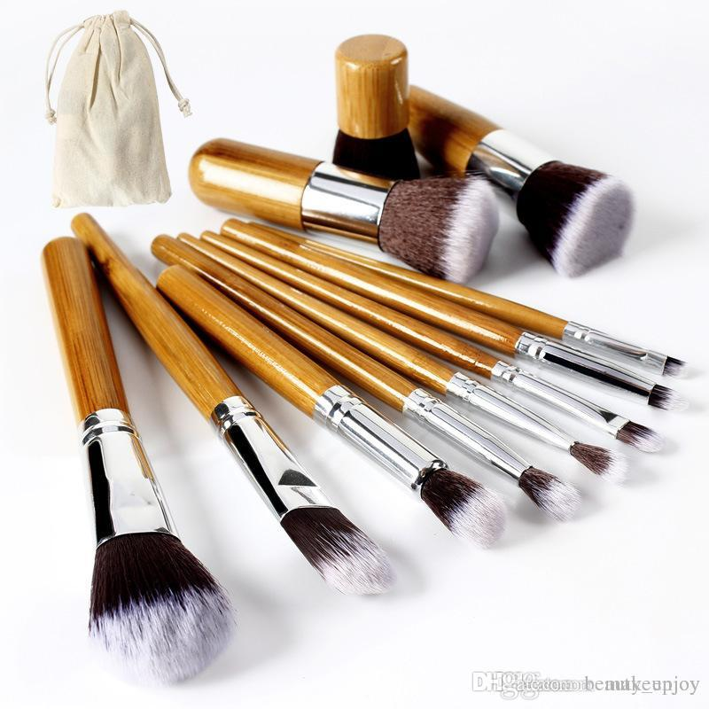 07828124faa12 Professional Bamboo Handle Makeup Brushes Set Synthetic Foundation ...
