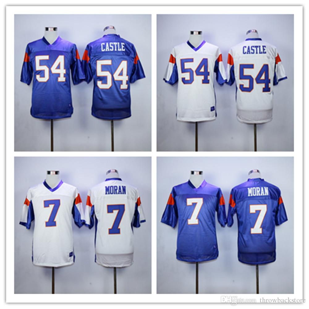 1754e129f6c 2019 Mens #7 Alex Moran White Cheap Movie Blue Mountain State Football  Jersey Stitched #54 Kevin Thad Devlin Castle Jersey Film Jerseys S 3XL From  ...