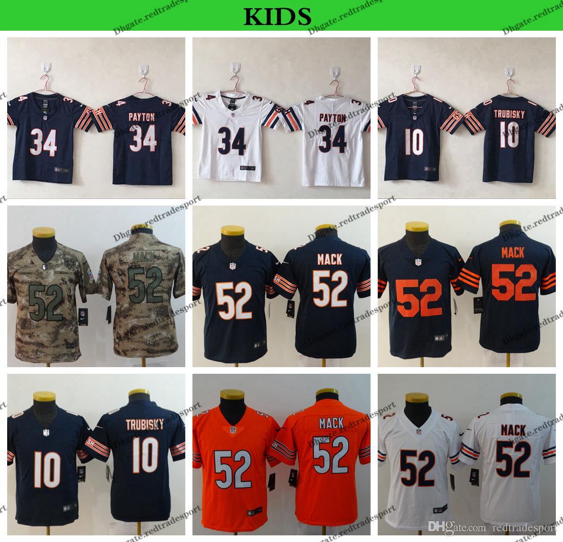 35ea6f79 Youth Chicago Kids Bears 2019 Camo Salute to Service Football Jerseys 10  Mitchell Trubisky 52 Khalil Mack 34 Walter Payton Stitched Shirts