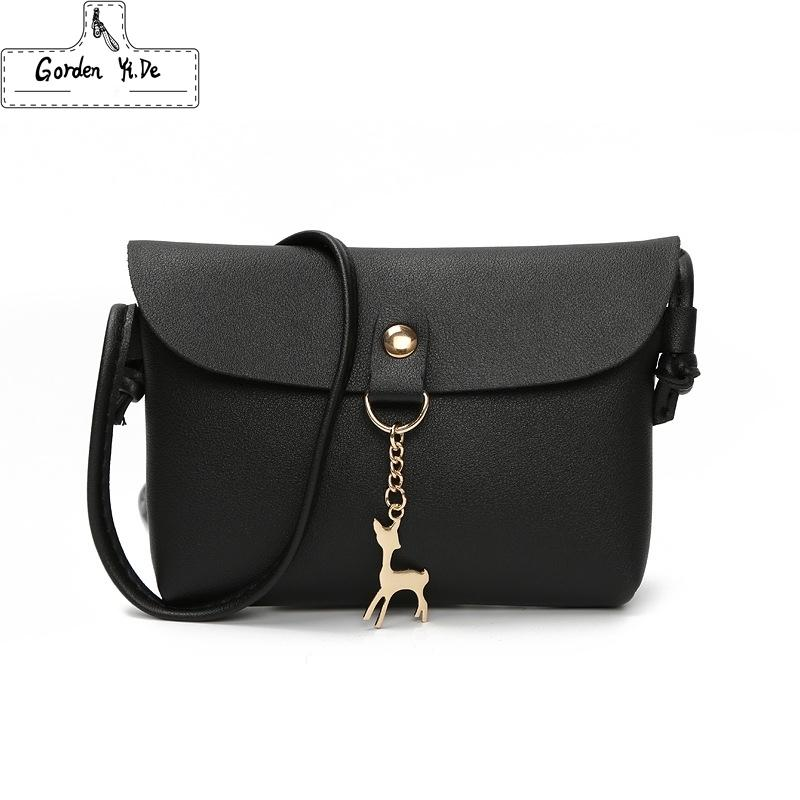 Cheap Women Leather small shoulder bag 2018 Fashion Women Cross Body Bag With Deer Toy Ladies Party Purse Clutches Mini Handbag #W0077