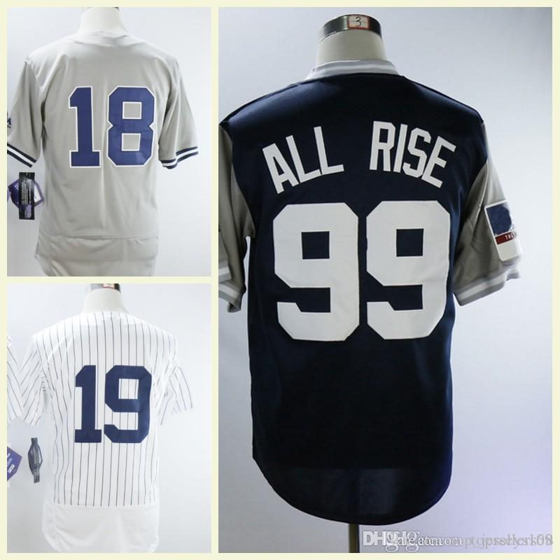 2019 Men New York 99 Aaron Judge All Rise Jersey Shirt Gray White Navy 18  Didi Gregorius Baseball Jerseys From Top jerseys168 643a26aa053