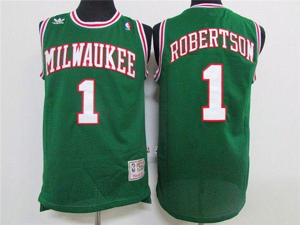 9b08ea0236d Mitchell   Ness Retro Mens 1 Oscar Robertson Basketball Jerseys Stitched Hardwood  Classic Milwaukee Bucks Oscar Robertson Green Jersey Oscar Robertson ...