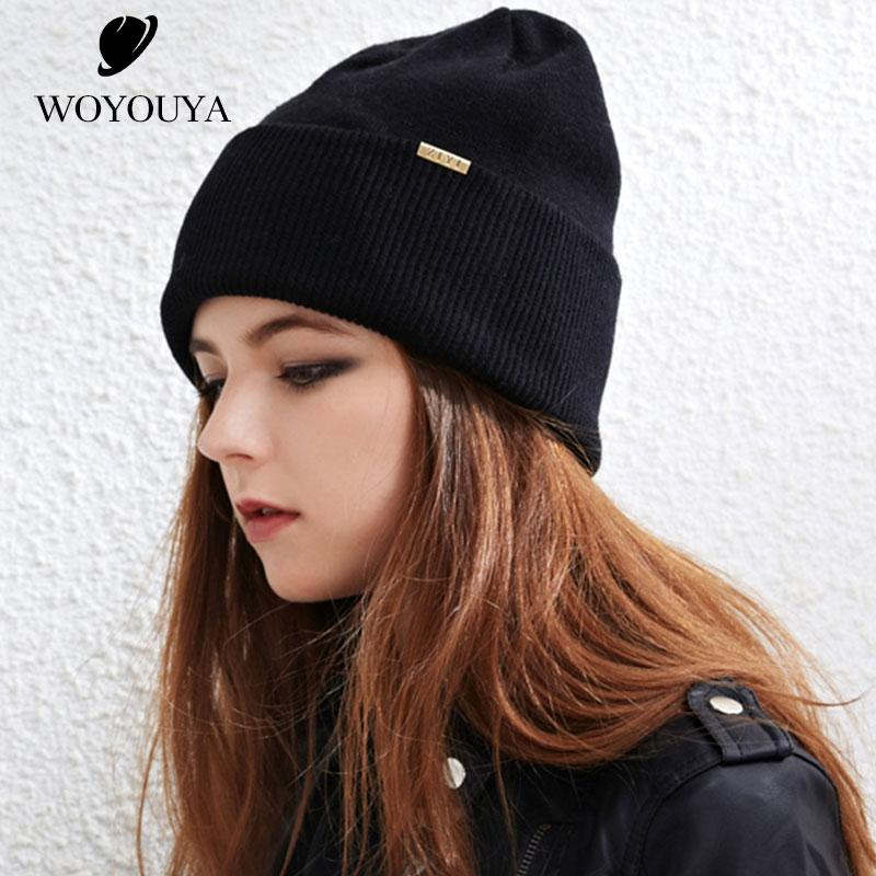 2018 New Wool Hats For Winter Women S Autumn And Winter Knitting Hat Black Women S  Hats Wild Wool For Woman Solid Beanie Hats For Men Black Beanie From ... 1db97b24ba4