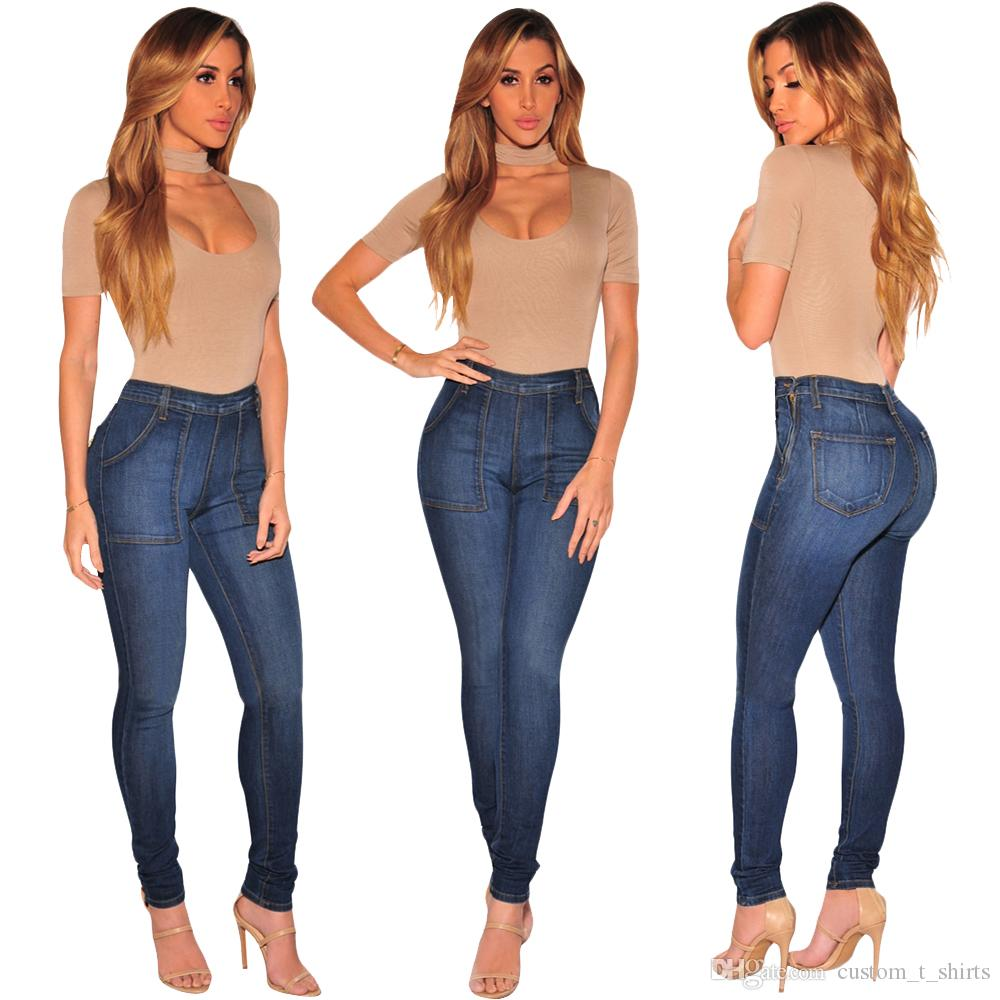 Wholesale 2019 Women jeans High Strength Water washed skinny jeans Ladies fashion New Style Leisure Bottom Jeans 114#