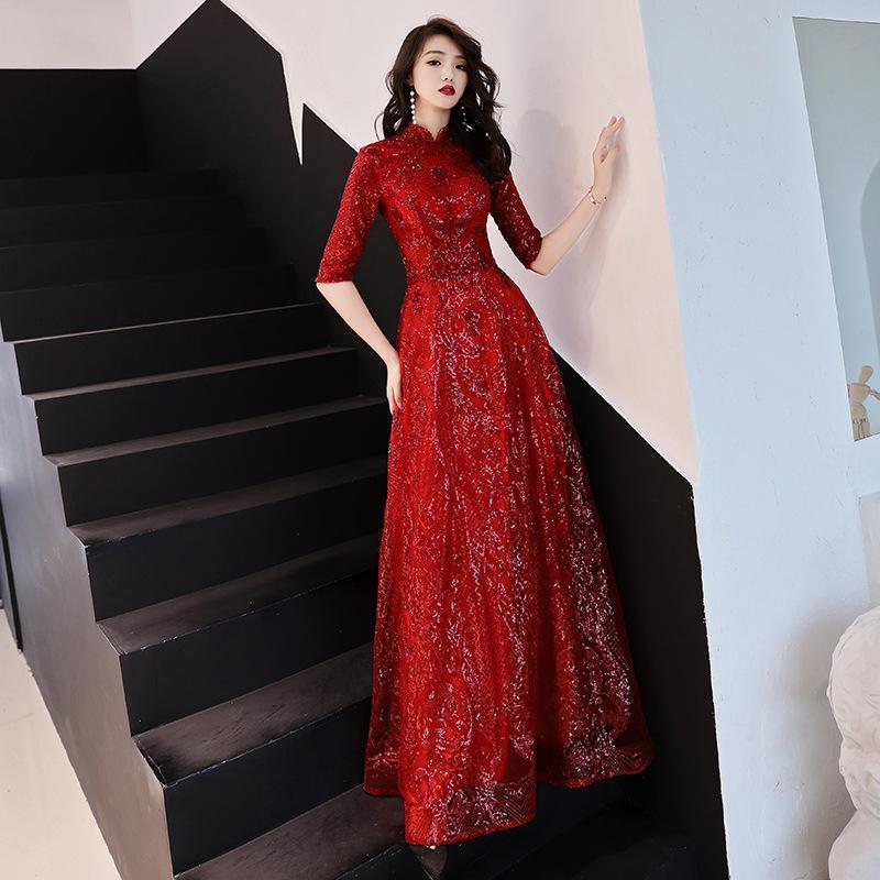 compre brindis vestido novia otoño 2019 nuevo estilo chino rojo