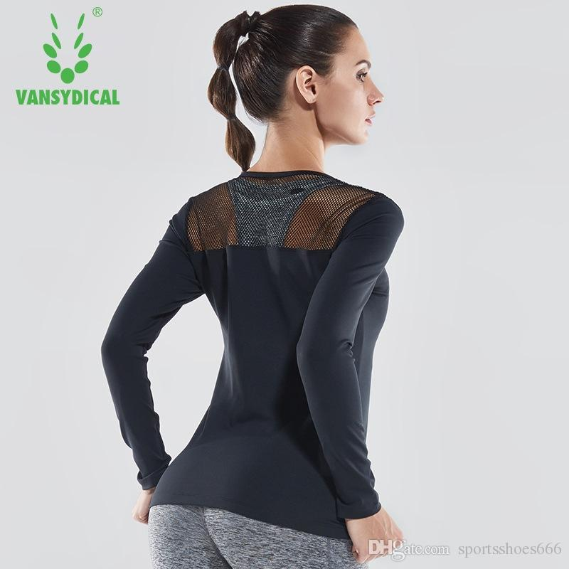 1f132b990b5 2019 Vansydical Womens Sexy Yoga Shirts Long Sleeve Hollow Fitness Sports T  Shirts Running Sportswear Workout Gym Yoga Clothes Tops #74420 From ...
