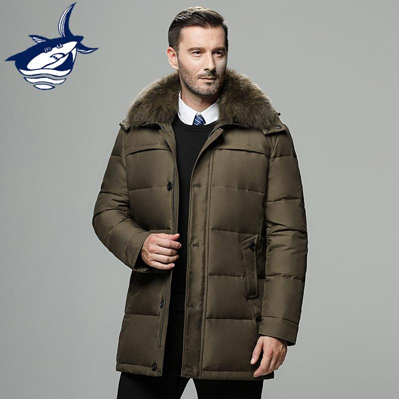 Brand men's winter jacket Russia long coat hat fur collar thick windproof waterproof 90% white duck down jacket men -25 degree SH190924