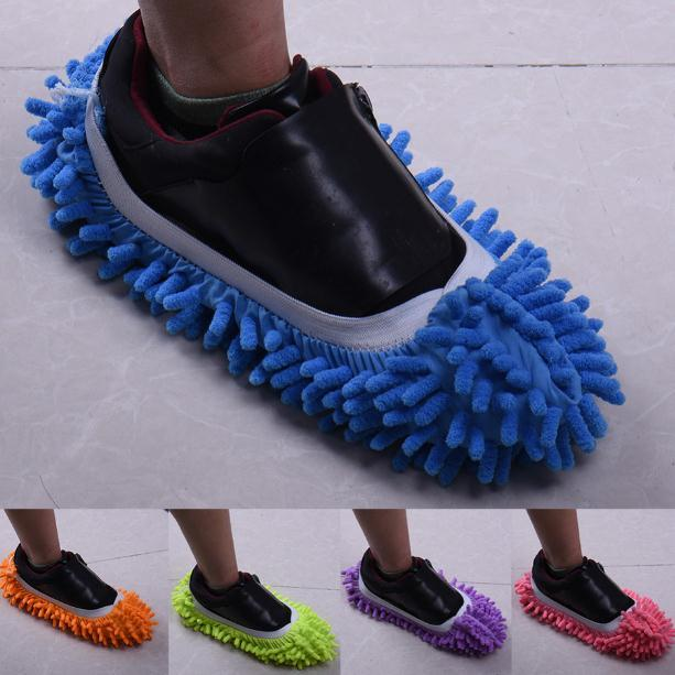2pcs/pair Top Fashion Special Offer Polyester Solid Dust Cleaner House Bathroom Floor Shoes Cover Cleaning Mop Slipper SN1652