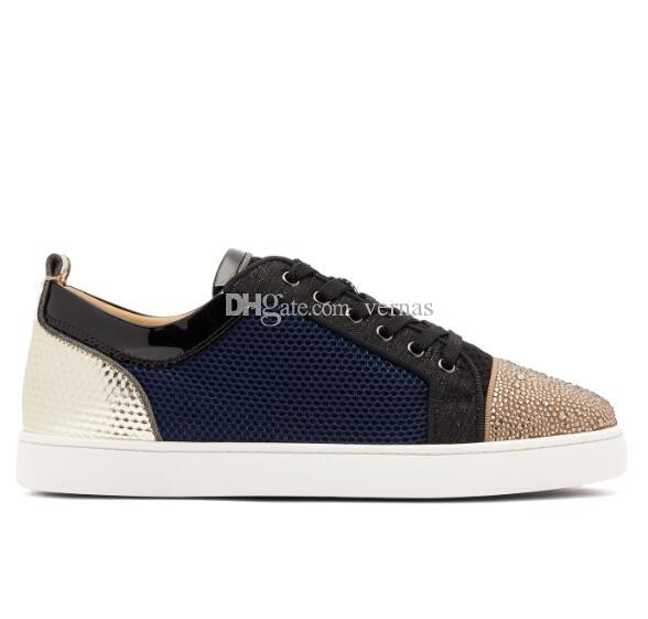 Populares Malla informal Caminar de lujo Low Top Red Bottom Sneakers Moda Low Top Strass Mesh Leather Walking Diseñador Zapatillas de deporte Zapatos