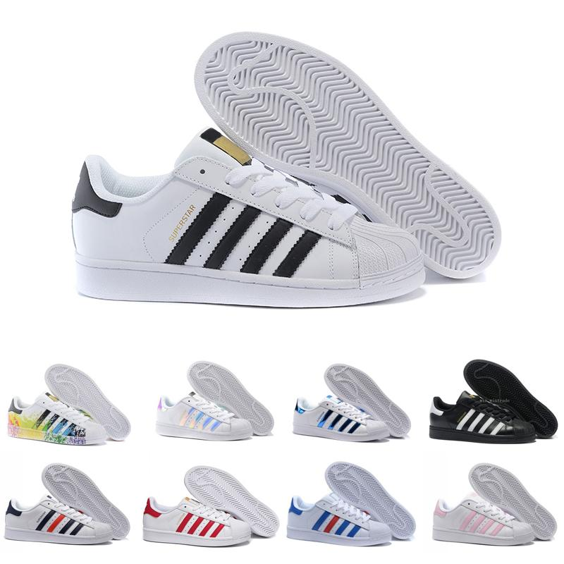 Nouvelles Arrivées 55476 2f53a Mens Fashion Flat Superstars smith stan 80s Pride Sneakers Super Star Women  s Sport Zapatillas Deportivas Mujer Lovers Casual Shoes 36-45