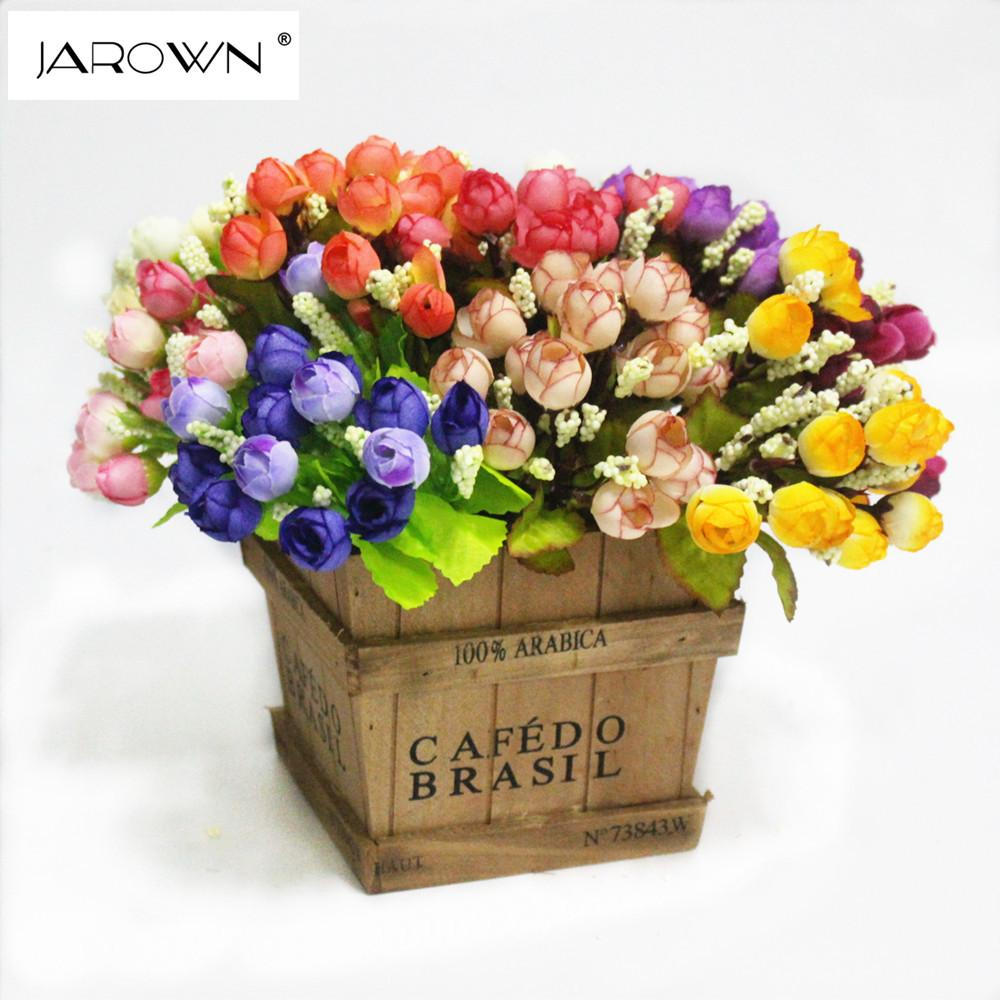 DHgate.com & flower vases for weddings Colorful Silk Flowers artificial flower 15 heads Mini Rose Home Decor for wedding small roses bouquet decoration