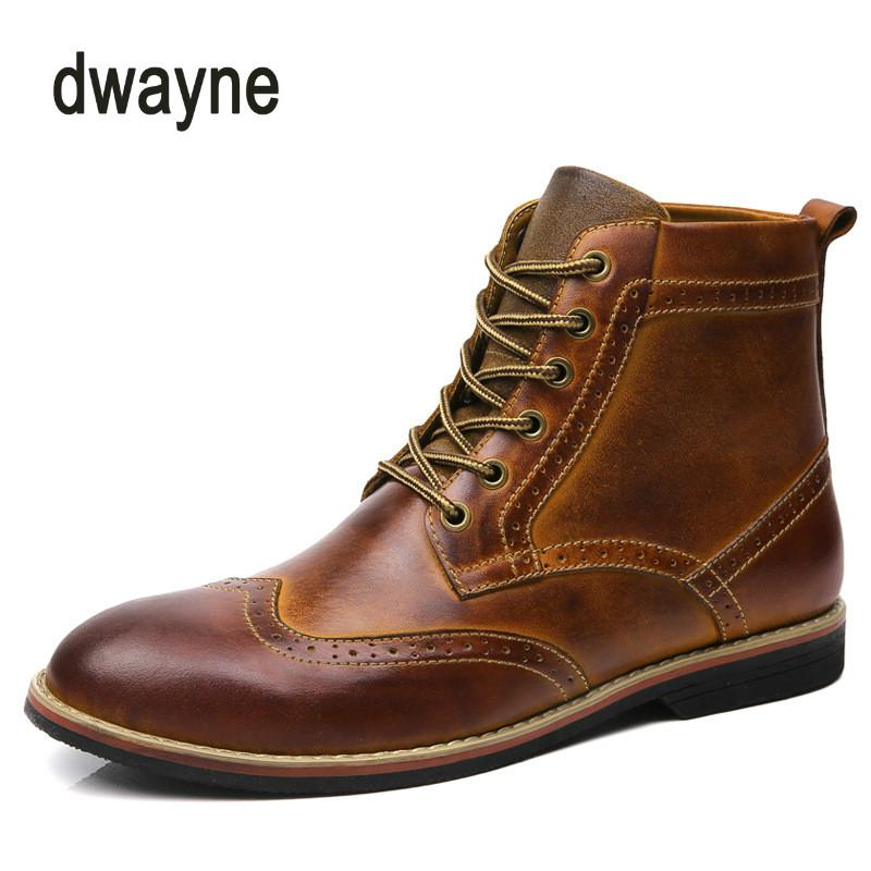 8b2278c683 2018 Autumn New Men Boots Big Size 38-47 Vintage Brogue College Style Men  Shoes Casual Fashion Lace-up Boots for Man Brown