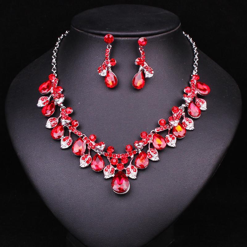 d6381f0df53d conjunto de joyas ashion Boda de moda Azul Rhinestone Cristal Indio  Conjuntos de joyería Novias Dama de honor Fiesta de baile Color de plata  Collar ...