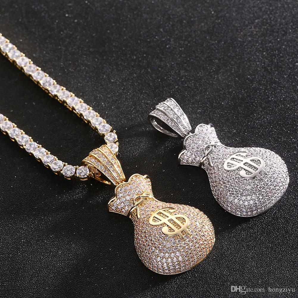 Wholesale New Dollar Bag Pendant With Tennis Chain Gold Color AAA Cubic  Zircon Men S Hip Hop Necklace Women Jewelry For Fashion Diamond Necklace  Necklaces ... 0783b3c66