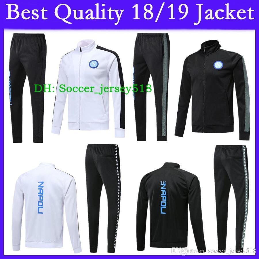 Compre   2018 19 SSC Napoli Jacket Chándal Hamsik Insigne Callejon  Zielinski 18 19 Nápoles Blanco Y Negro Kit De Chaqueta 2018 2019 Soccer  Veste Suit A ... 4dd03281b6434