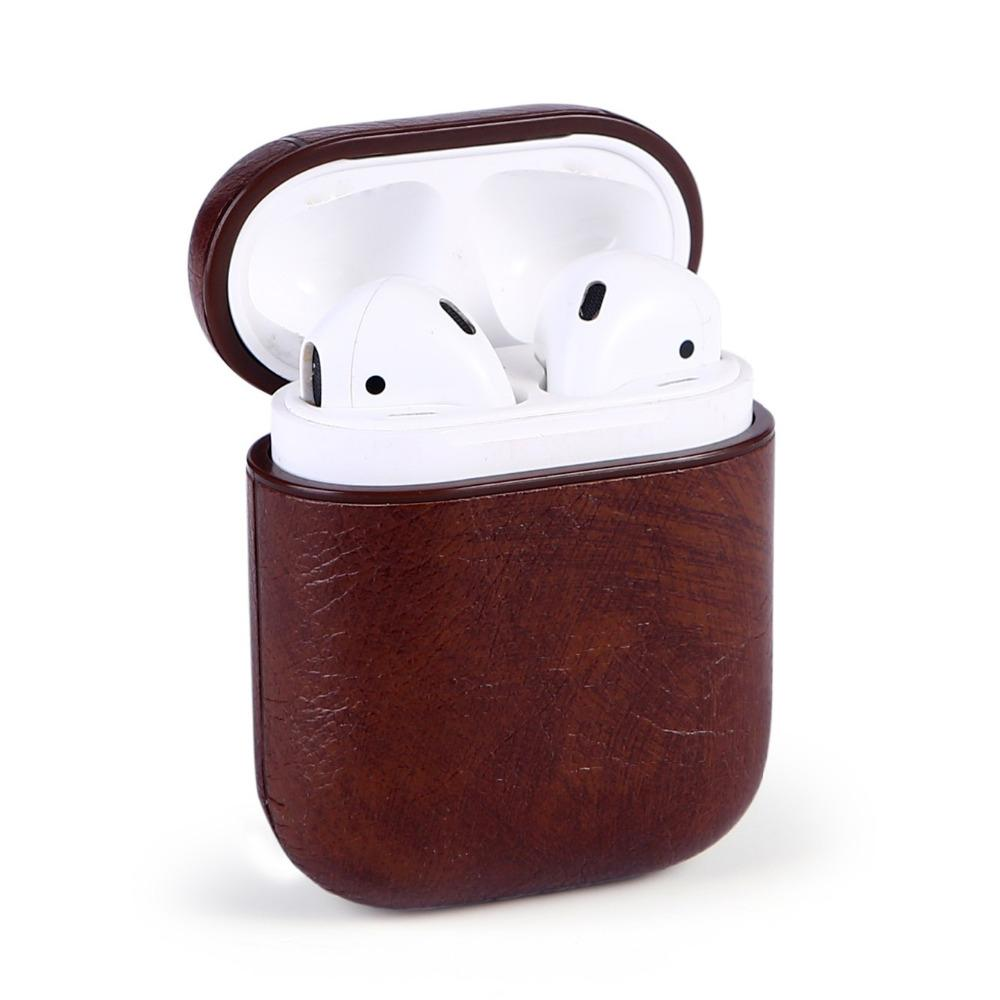 Genuine Leather Hook Case for AirPods Vintage Matte for Apple Airpods  Luxury Protective Storage Bag Black Brown