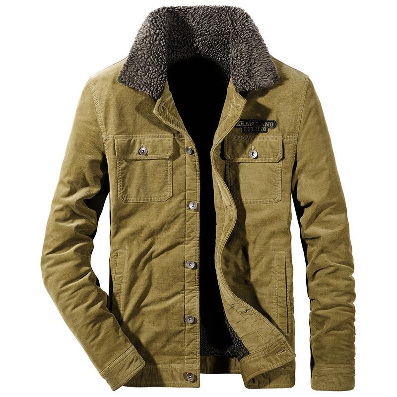 super popular c89da c3b84 Winter Cord Herren Jacke Mantel Mode Pelz Dünne Fett Fleece Verdicken Jacke  Männer Markenkleidung Warme Outwear Mantel 4XL BF820