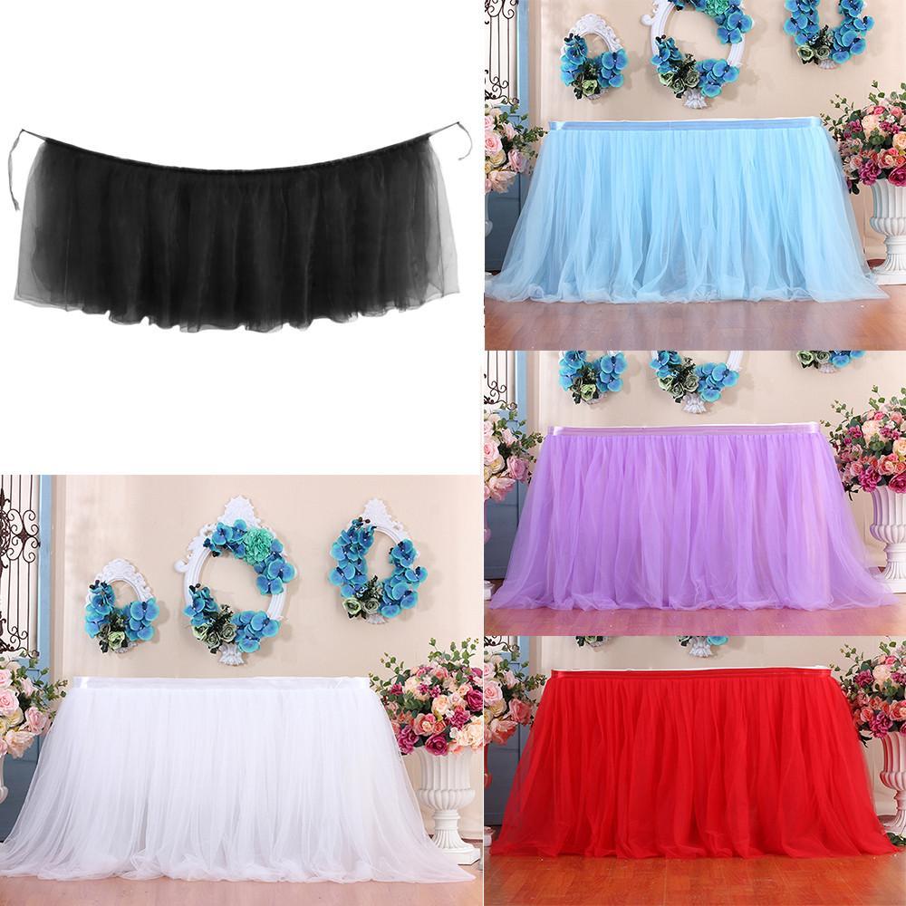 c82bfaad4 1 unid mesa falda cubierta tutu tul tabla falda cumpleaños boda navidad  fiesta festiva decoración paño vajilla